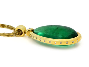 Kazanjian Cabochon Emerald Pendant, 79.22 carats, in 18K Yellow Gold