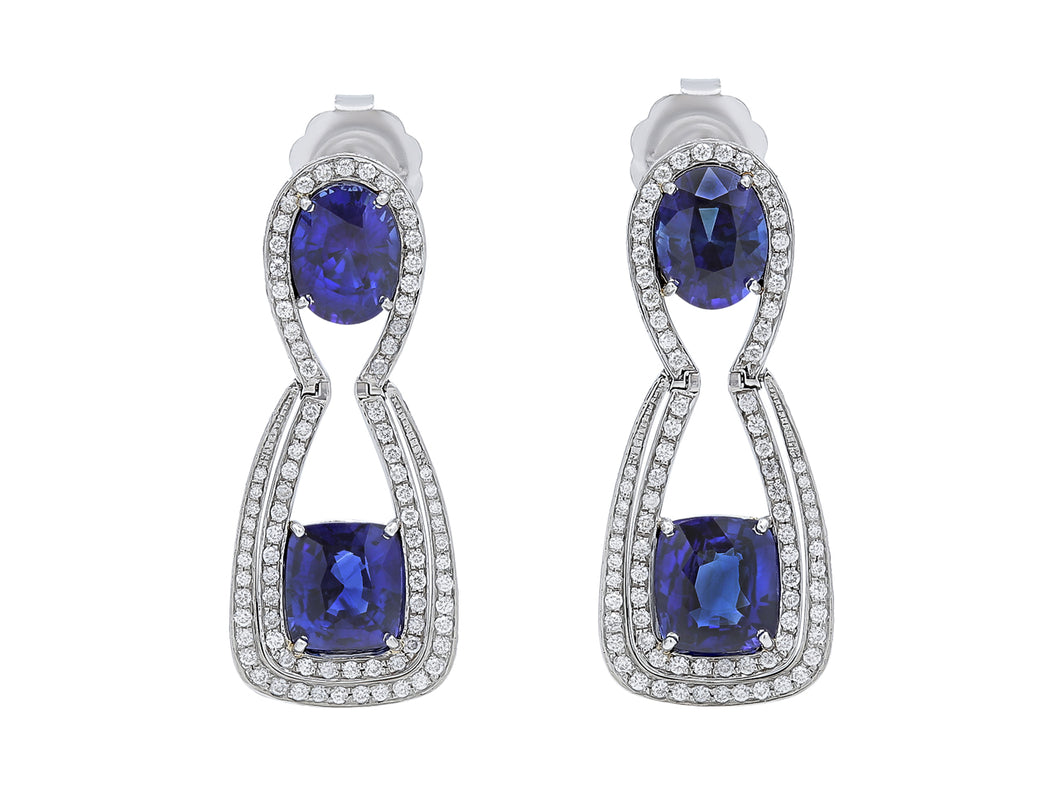 Kazanjian Sapphire & Diamond Earrings, in 18K White Gold