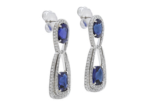 Kazanjian Oval & Cushion Cut Sapphire Earrings, in 18K White Gold