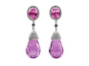 Kazanjian Pink Sapphire and Lavender Spinel Drop Earrings in Platinum