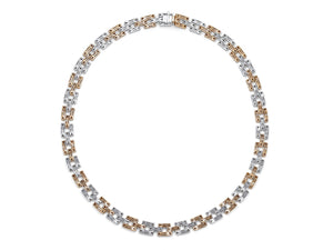 Kazanjian Pink & Colorless Diamond Link Necklace, in 18K White & Rose Gold