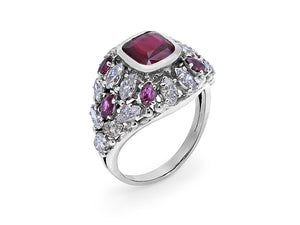 Kazanjian Ruby & Diamond Ring, in 18K White Gold