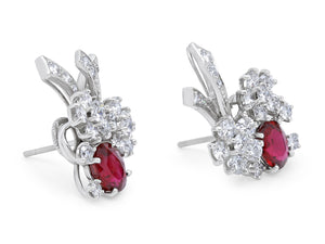 Kazanjian Ruby, 3.59 carats, and Diamond Earrings, in Platinum