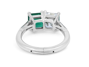 Kazanjian Colombian Emerald & Diamond Twin Ring, in Platinum