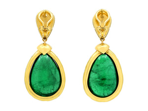 Kazanjian Cabochon Emerald Drop Earrings in 18K Yellow Gold
