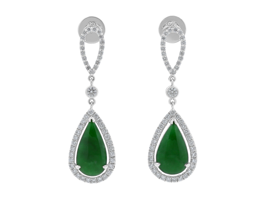 Kazanjian Jade Earrings in 18K White Gold