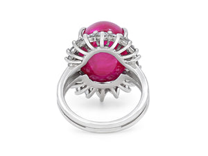 Kazanjian Cabochon Ruby, 19.42 carats, and Diamond Ring, in 18K White Gold