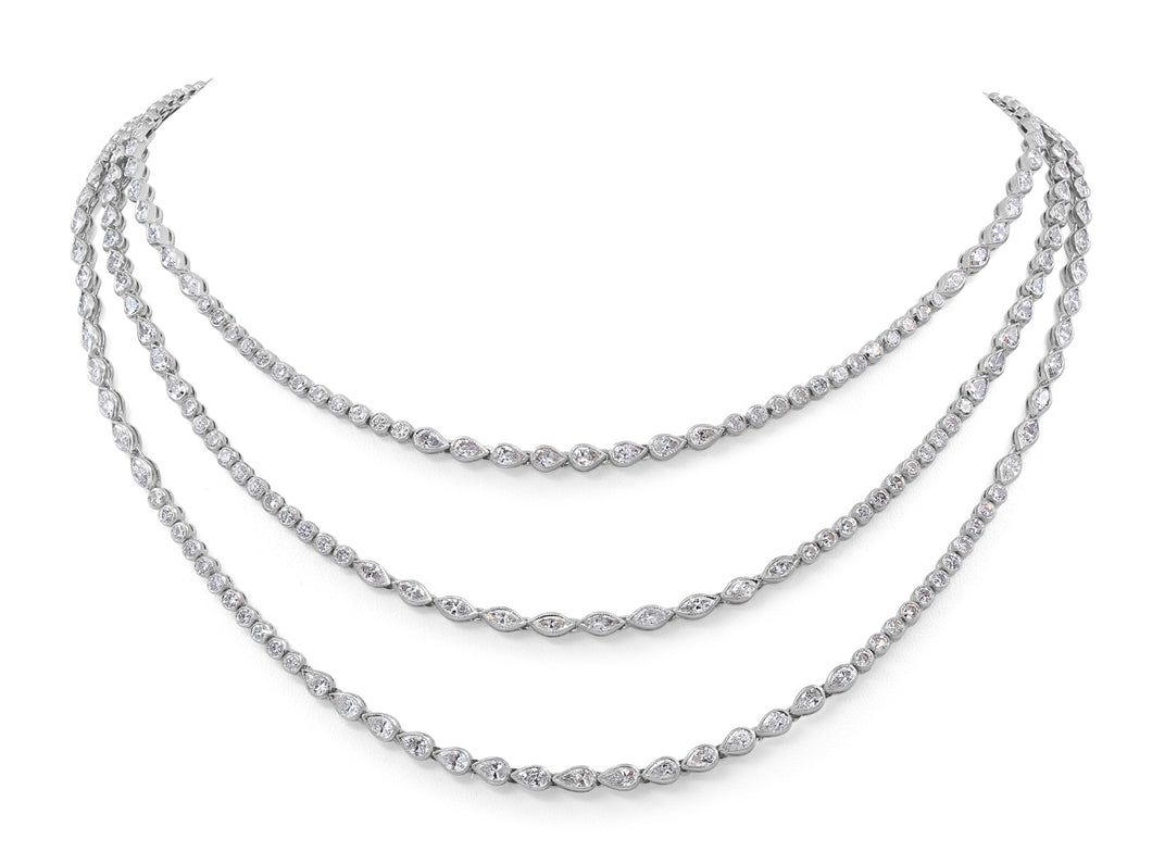 Kazanjian Triple Row Diamond Necklace, in 18K White Gold