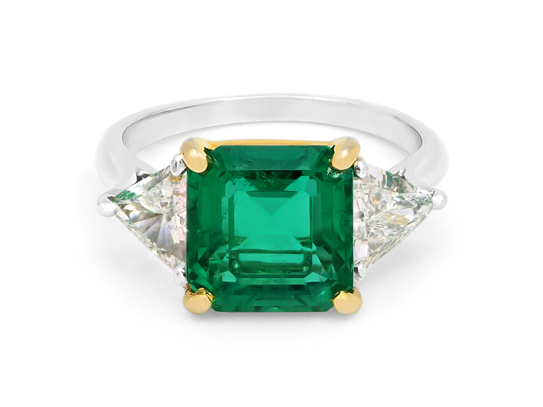 Kazanjian Colombian Emerald, 3.26 carats, Ring in Platinum & 18K Yellow Gold
