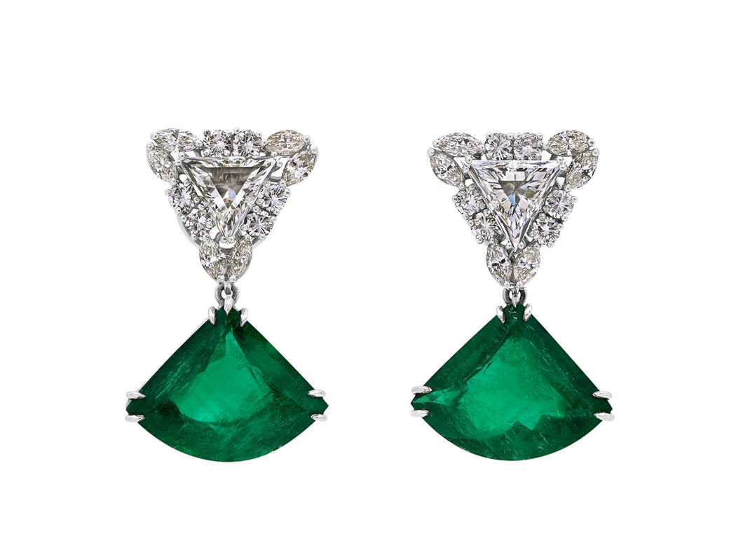 Kazanjian Colombian Emerald & Diamond Earrings, in Platinum