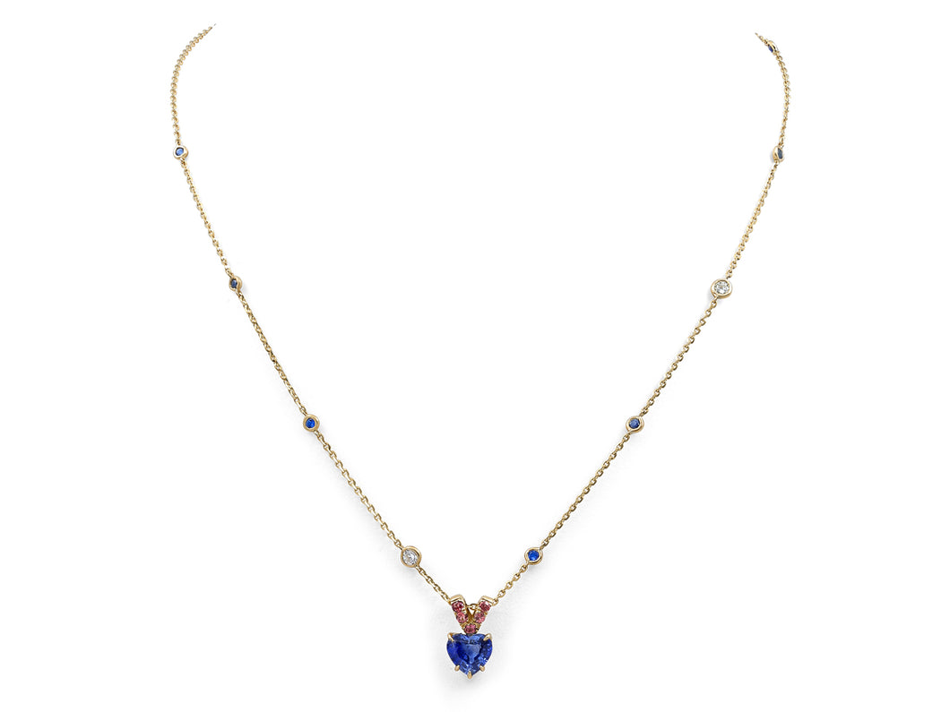 Kazanjian Heart Shaped Sapphire Necklace in 18K Yellow Gold