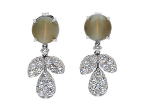 Kazanjian Cat's Eye Chrysoberyl Earrings, in 18K White Gold
