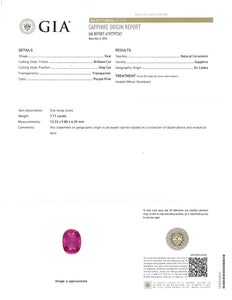 Kazanjian Pink Sapphire, 7.71 carats, and Diamond Ring, in 18K White & Yellow Gold