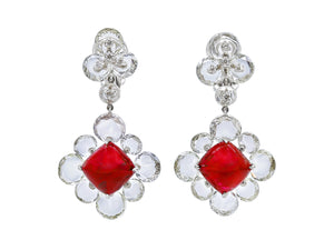 Kazanjian Cabochon Burma Ruby Earrings in Platinum & 18K White Gold