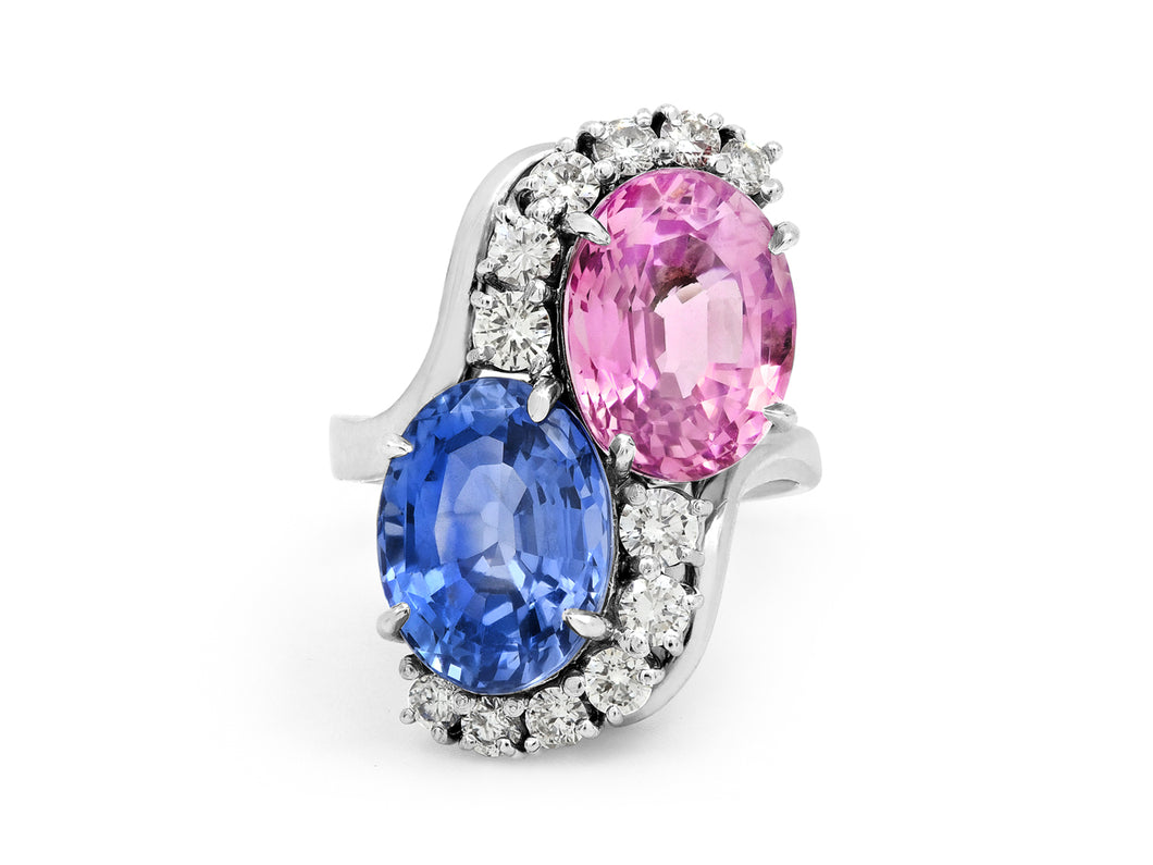 Kazanjian Pink and Blue Sapphire Twin Ring in Platinum