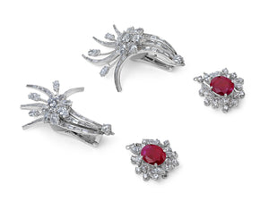 Kazanjian Floral Ruby and Diamond Spray Earrings, in Platinum