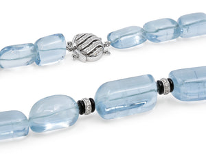 Kazanjian Aquamarine Bead, Onyx, and Diamond Necklace. in 18K White Gold