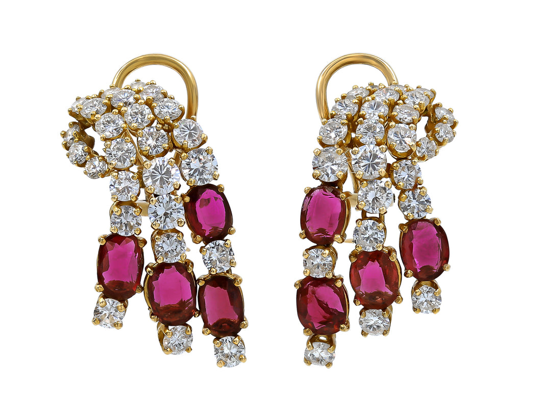 Kazanjian Ruby and Diamond Waterfall Earrings, in 18K Yellow Gold