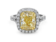 Load image into Gallery viewer, Kazanjian Fancy Yellow Diamond, 3.85 carats, Ring in 18K White Gold & Yellow Gold