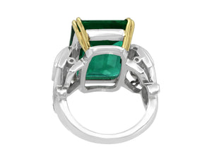 Kazanjian Zambian Emerald, 10.77 carats, and Diamond Ring in Platinum with 18K Yellow Gold Accents