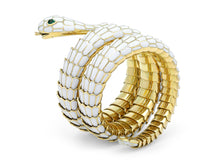 Load image into Gallery viewer, Kazanjian Snake Wrap Bracelet, in White Enamel & 18K Yellow Gold