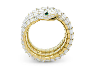 Kazanjian Snake Wrap Bracelet, in White Enamel & 18K Yellow Gold