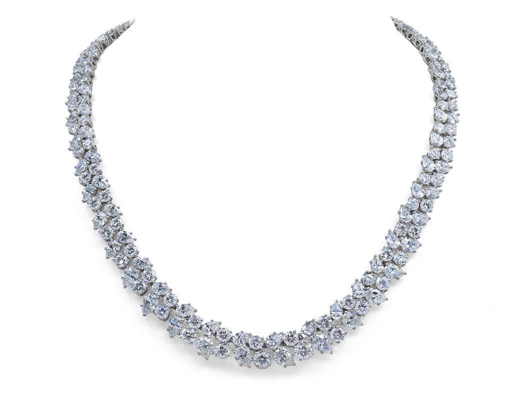 Kazanjian Modern Double Row Diamond Necklace in Platinum