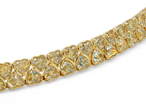 Kazanjian Heart Shape Fancy Yellow Diamond Bracelet, in 18K Yellow Gold