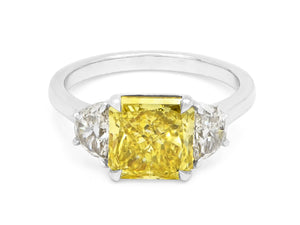 Kazanjian Fancy Vivid Yellow Diamond, 3.06 carats, Ring in Platinum