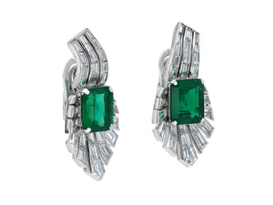 Kazanjian Emerald and Diamond Ear Clips, in Platinum