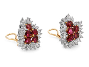 Kazanjian Ruby & Diamond Cluster Earrings, in 18K Yellow & White Gold