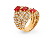 Load image into Gallery viewer, Kazanjian Ruby & Diamond Ring in 18K Yellow Gold