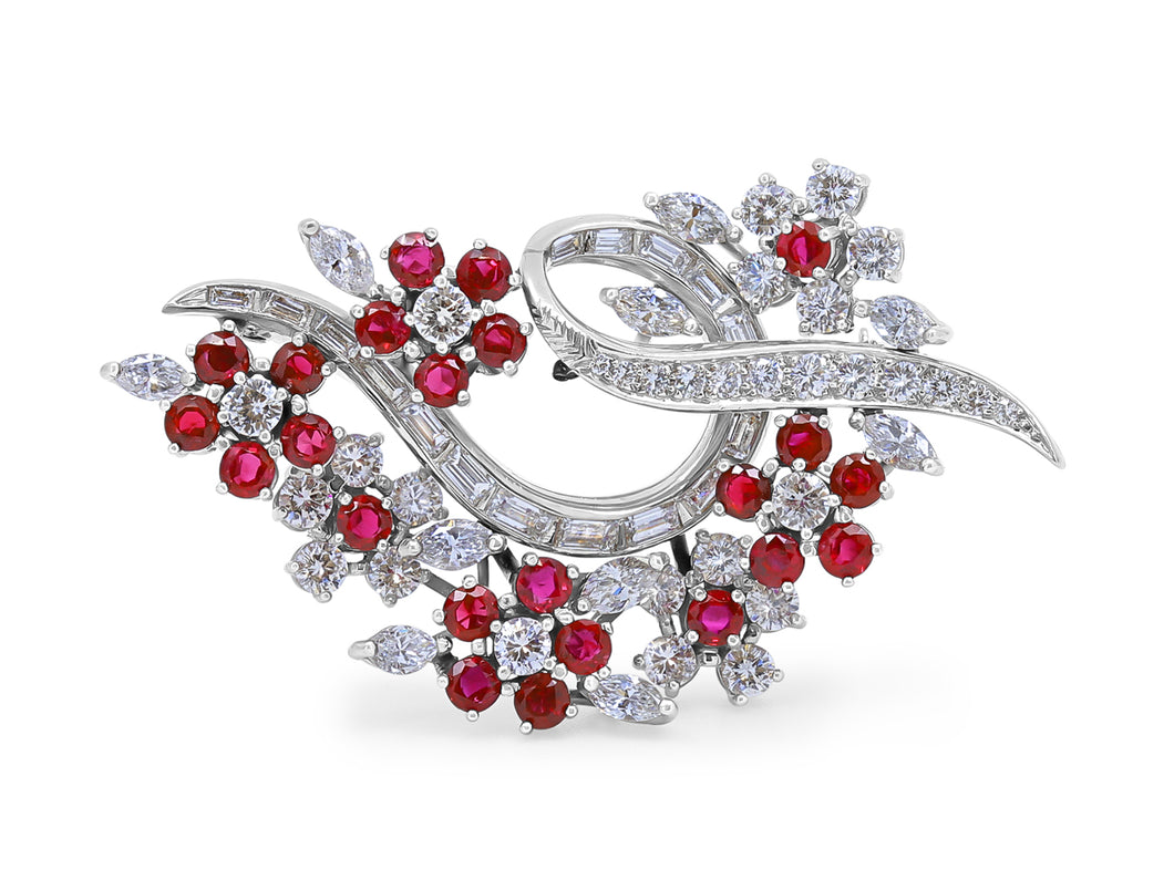 Kazanjian Floral Ruby Brooch, in Platinum