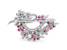 Load image into Gallery viewer, Kazanjian Floral Ruby Brooch, in Platinum