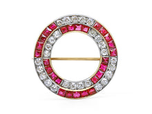 Load image into Gallery viewer, Kazanjian Ruby Circle Brooch, in Platinum & 18K Yellow Gold