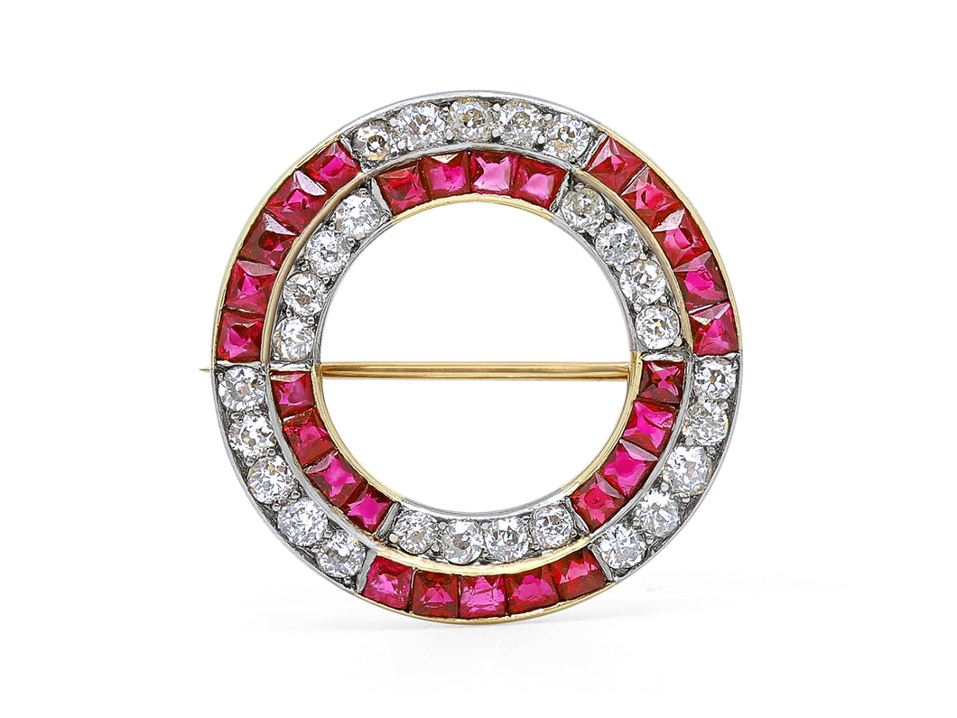 Kazanjian Ruby Circle Brooch, in Platinum & 18K Yellow Gold