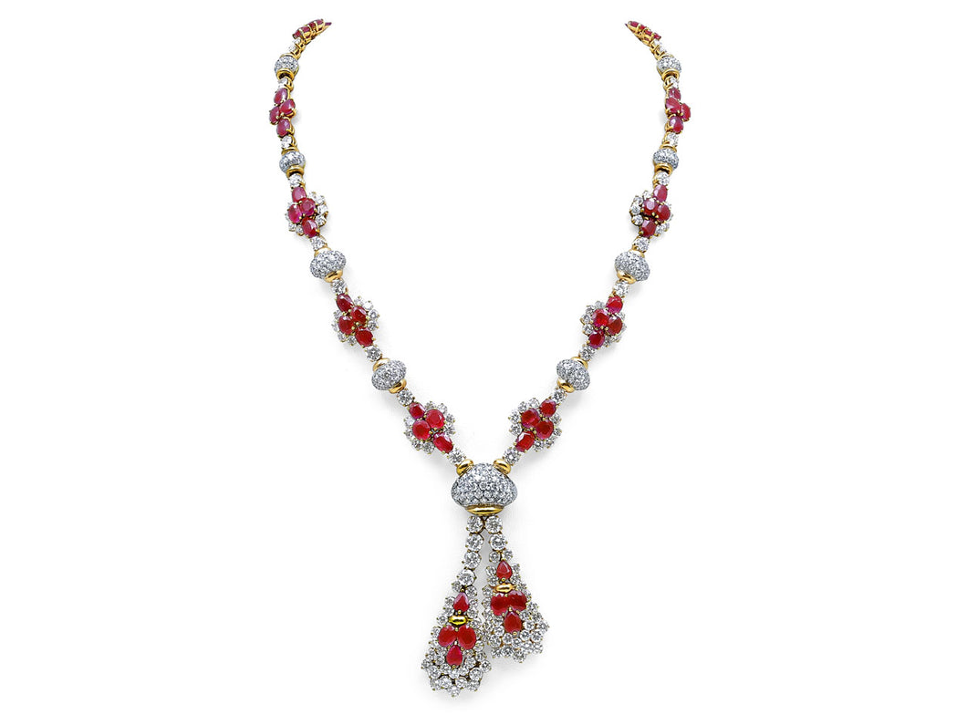Kazanjian Burma Ruby Mid Century Necklace, in 18K Yellow Gold