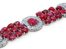 Load image into Gallery viewer, Kazanjian Art Deco Cabochon Ruby and Diamond Bracelet in Platinum