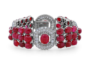 Kazanjian Art Deco Cabochon Ruby and Diamond Bracelet in Platinum