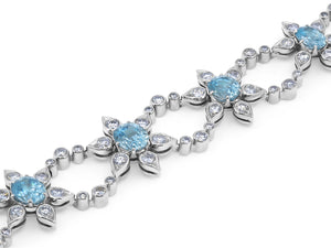 Kazanjian Zircon and Diamond Bracelet, in 14K White Gold
