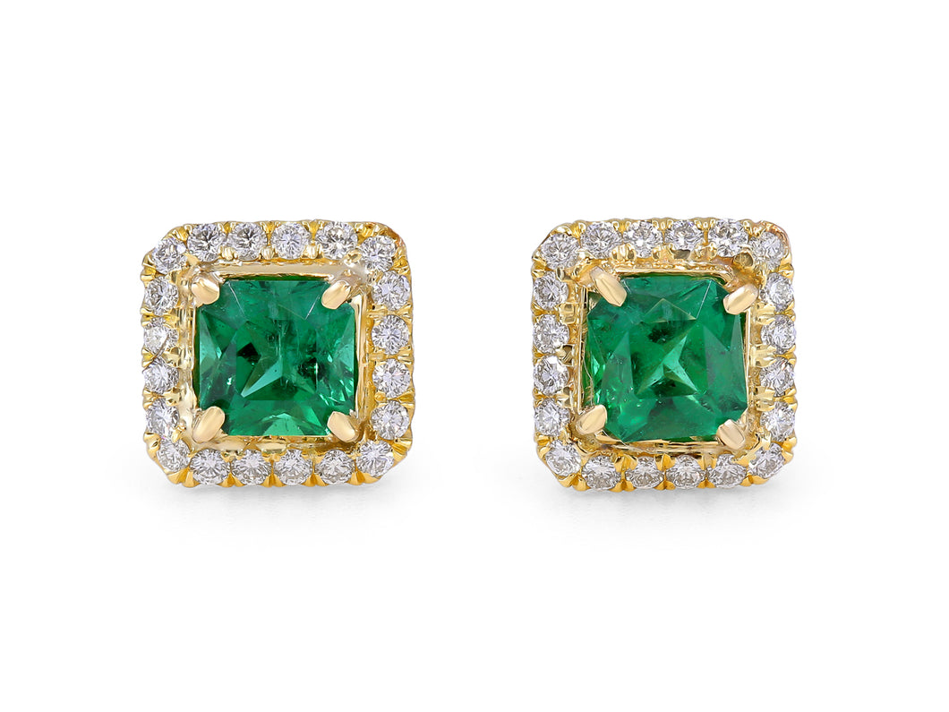 Kazanjian Emerald Studs in 14K Yellow Gold