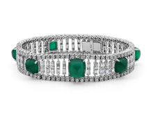 Load image into Gallery viewer, Kazanjian Cabochon Emerald & Diamond Bracelet in 18K White Gold