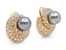 Load image into Gallery viewer, Kazanjian Black Pearl Earrings in 18K Yellow Gold