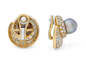 Kazanjian Black Pearl Earrings in 18K Yellow Gold