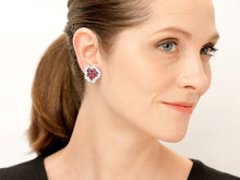 Load image into Gallery viewer, Kazanjian Ruby & Diamond Cluster Earrings, in 18K Yellow & White Gold