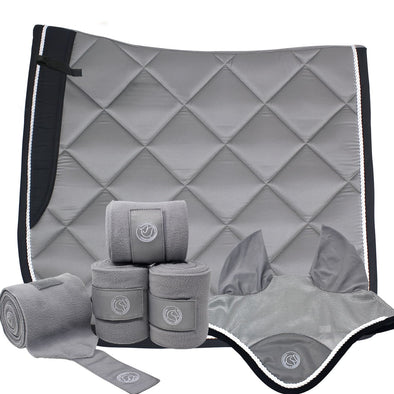 Gray Dressage Bundle with Fly Veil, Polo Wraps and a Dressage saddle pad. Gray in color with semi shiny material.