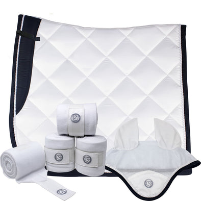 White Dressage Bundle with Fly Veil, Polo Wraps and a Dressage saddle pad. White in color with semi shiny material.
