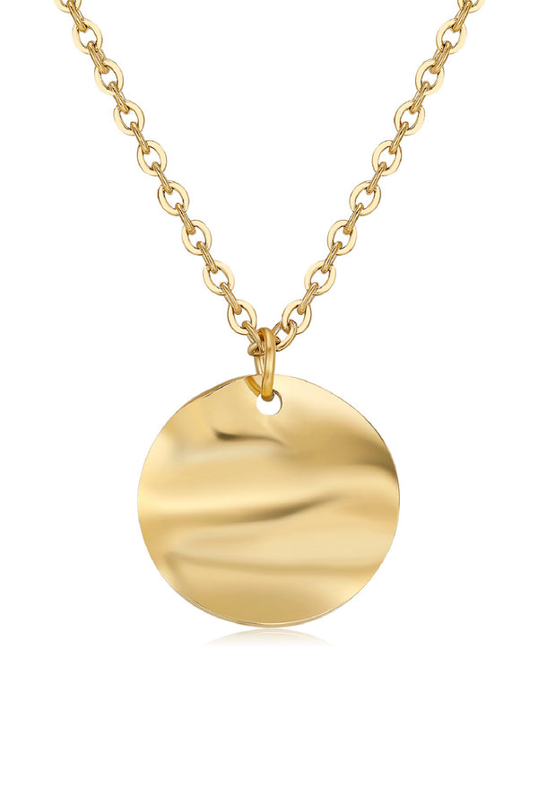 18k Gold Circle Pendant Necklace