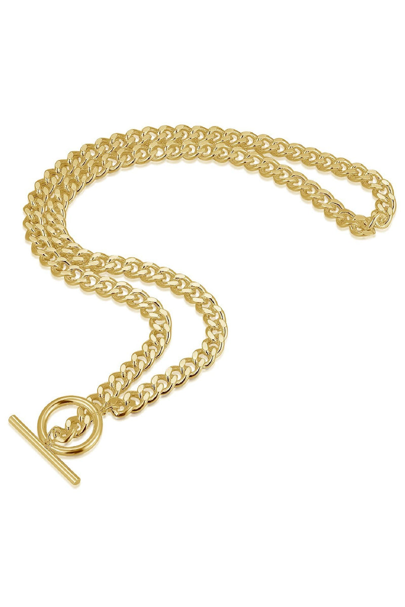 18k Gold T Bar and Circle Chain Necklace HAUS OF DECK