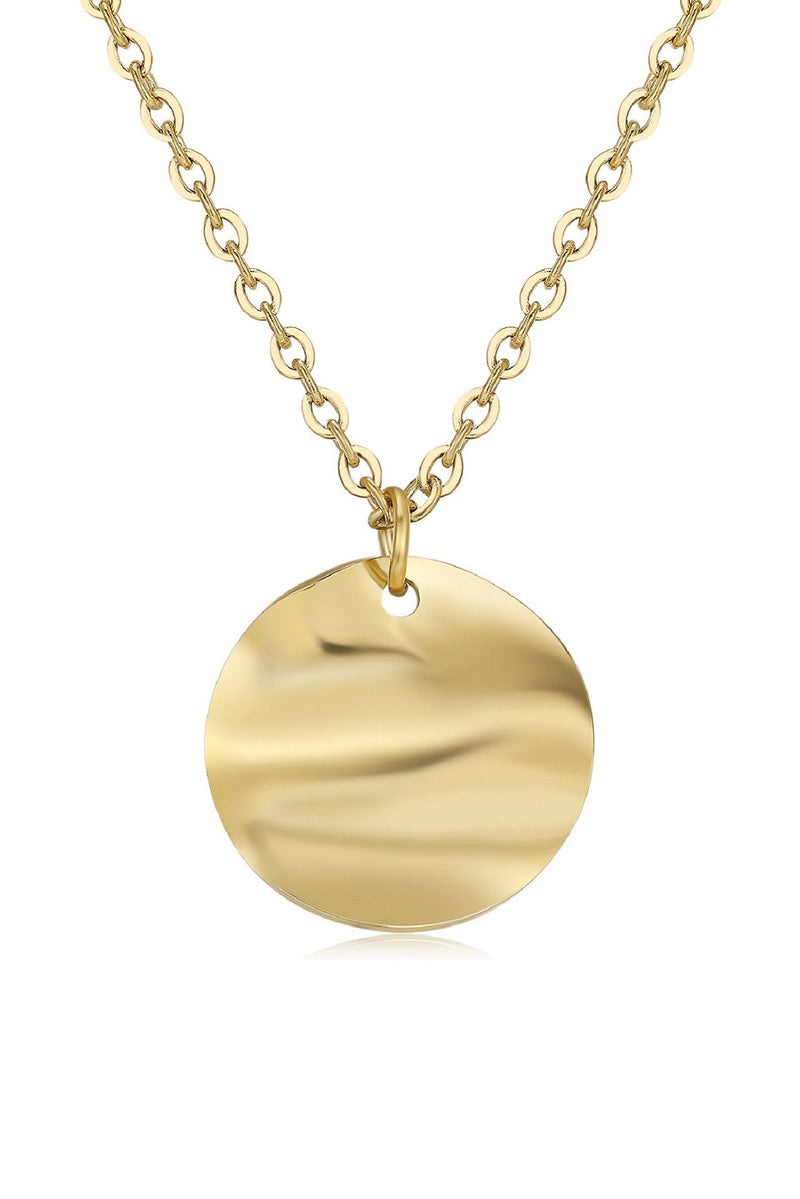18k Gold T-Bar Chain and Circle Pendant Layering Set HAUS OF DECK